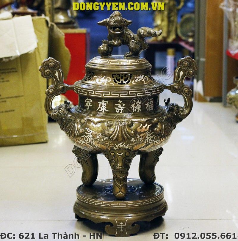 Đỉnh Đồng Ý Yên Khảm Tam Khí 60cm - Đồ Thờ Khảm Tam Khí