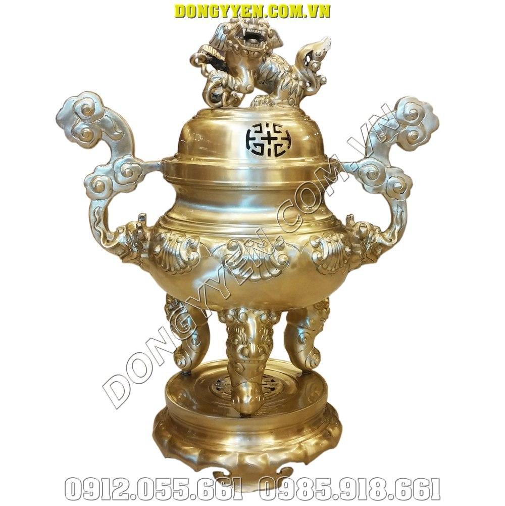 Đỉnh Đồng Thờ Gia Tiên - Đỉnh Thờ Bằng Đồng Vàng 50cm
