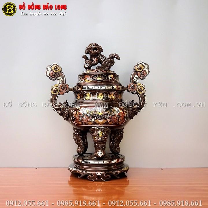 Đỉnh Đồng Khảm Ngũ Sắc Cao 60cm Khảm 5 Chữ Vàng 9999