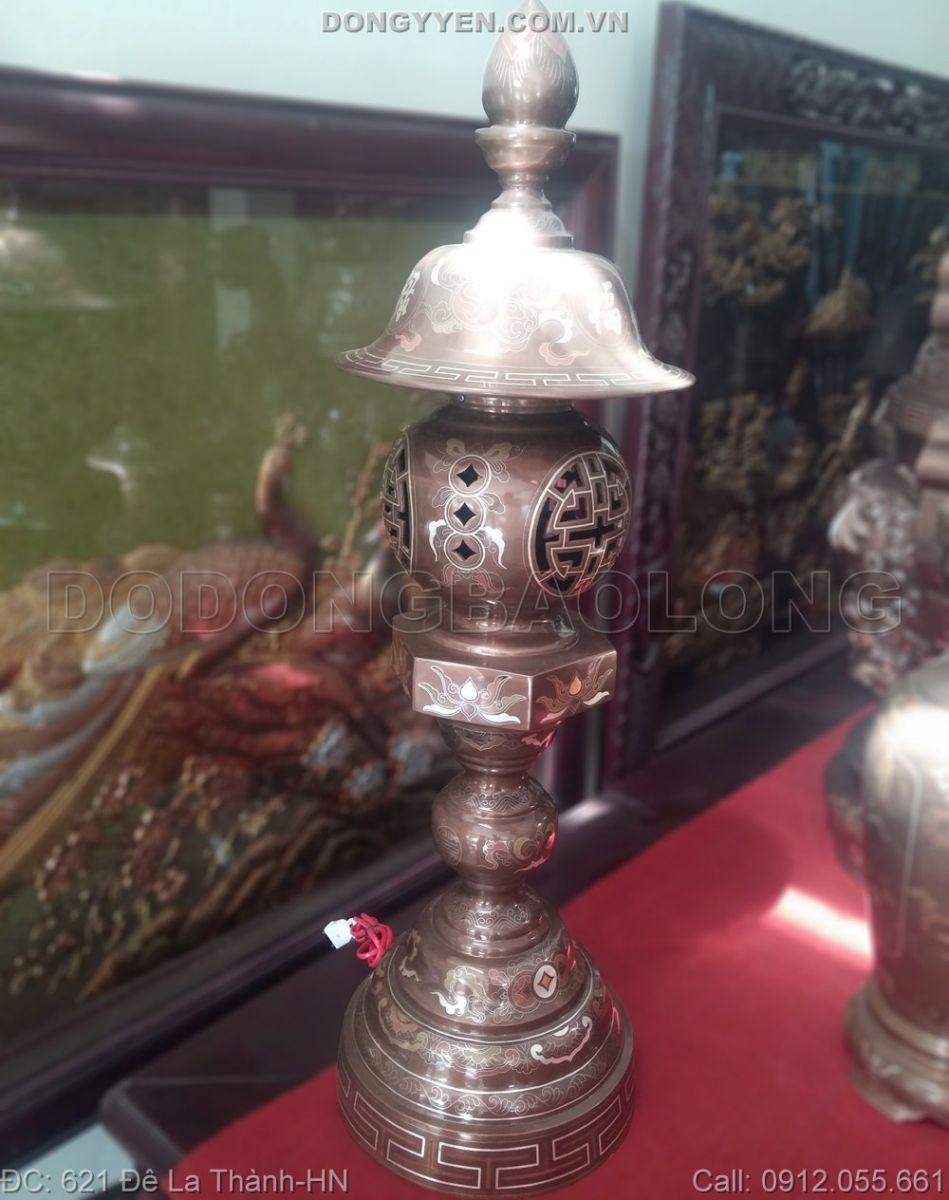 đèn thờ bằng đồng khảm ngũ sắc