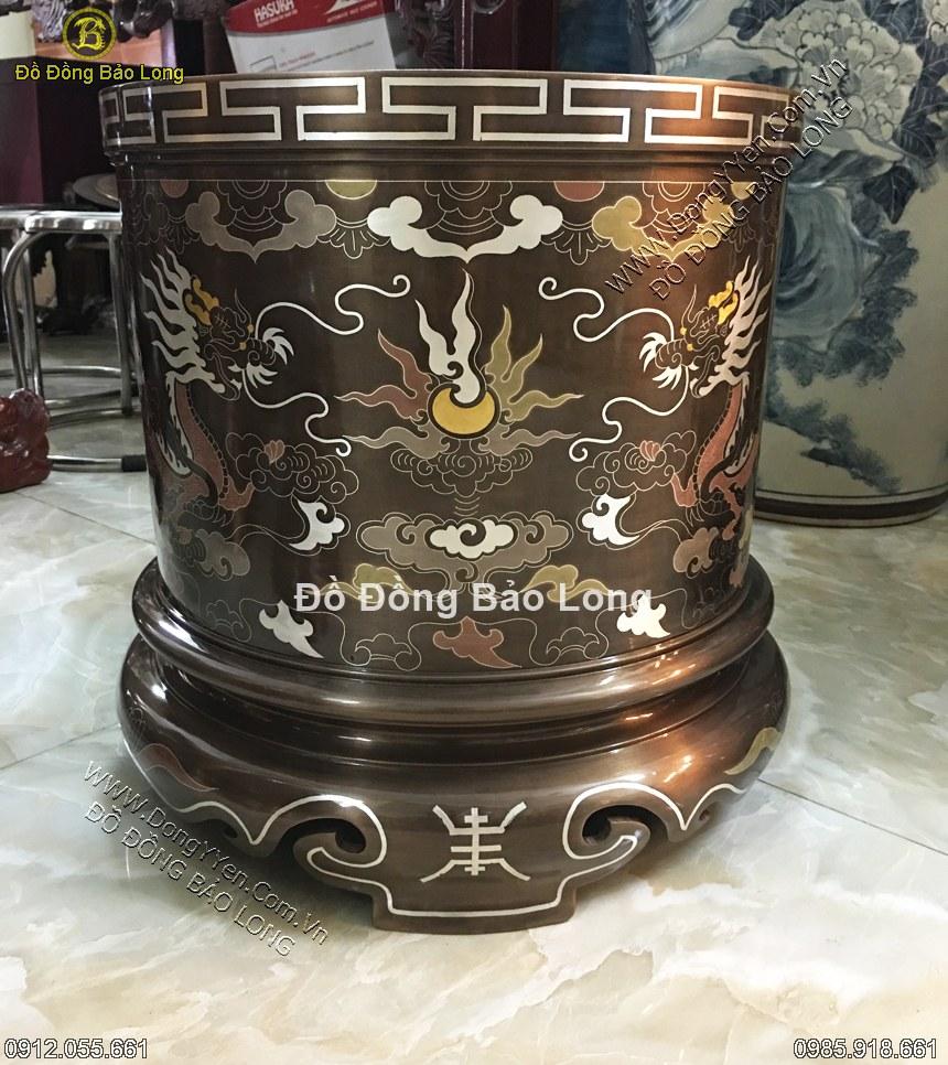 bát hương đồng khảm ngũ sắc đường kính 30cm