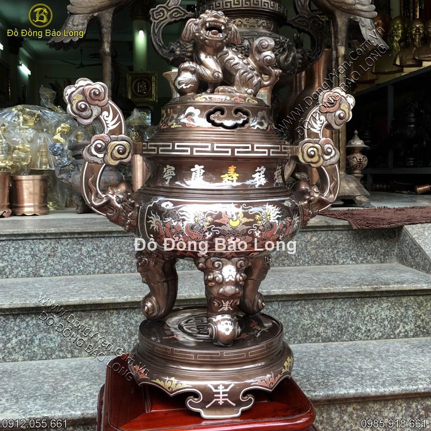 Đỉnh Đồng Khảm Ngũ Sắc 45cm