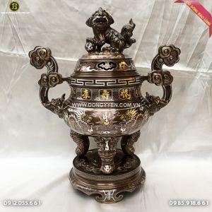 Đỉnh Đồng Khảm Ngũ Sắc 50cm Khảm 5 Chữ Vàng 9999