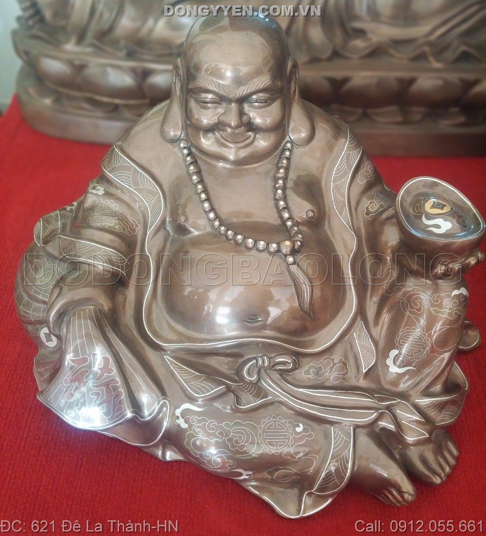 Tượng Đồng Phật Di Lặc Khảm Ngũ Sắc