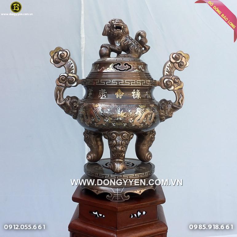 Lư Đồng Thờ Khảm Tam Khí Cao Cấp 60cm