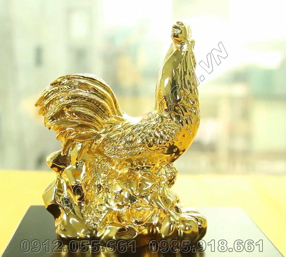 Gà Phong Thủy Bằng Đồng Mạ Vàng 24K