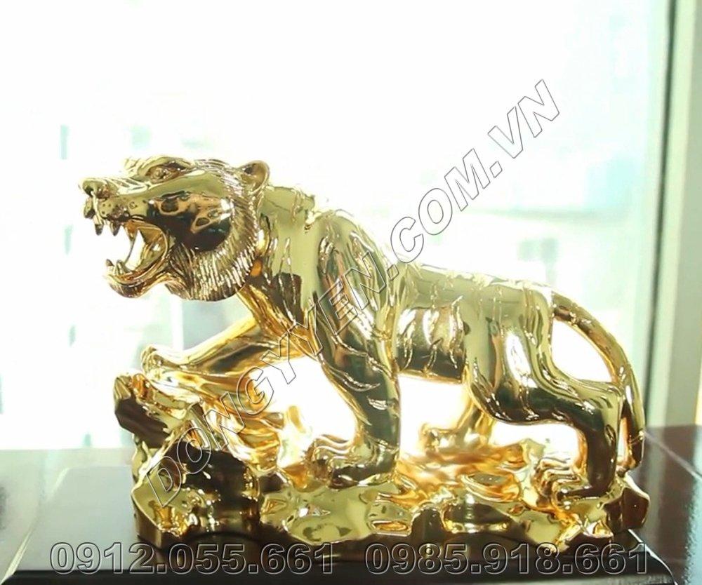 Hổ Phong Thủy Bằng Đồng Mạ Vàng 24K
