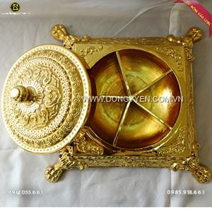 Khay đựng Bánh Kẹo Bằng Đồng Mạ Vàng 24k 40cm