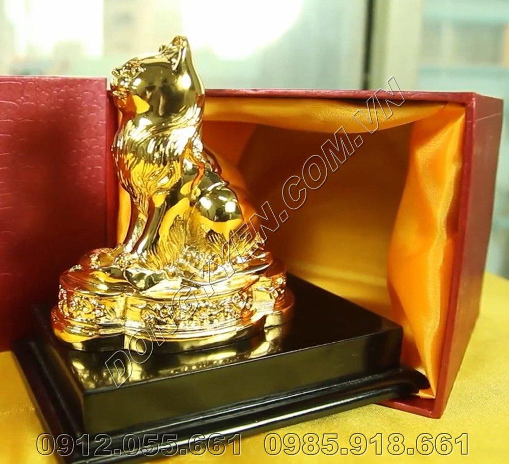Mèo Phong Thủy - Linh Vật Tuổi Mão Bằng Đồng Mạ Vàng 24K