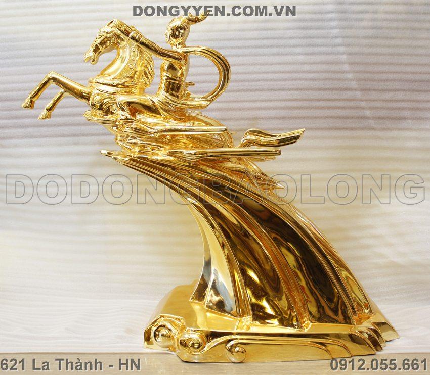 tượng thánh gióng cao 65cm bằng đồng mạ vàng 24K