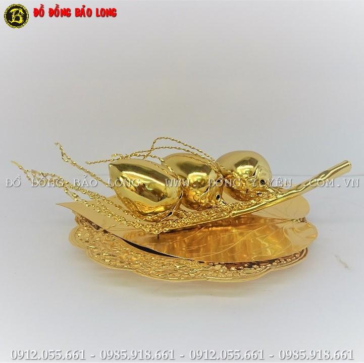 Bộ Trầu Cau Bằng Đồng Mạ Vàng 24k