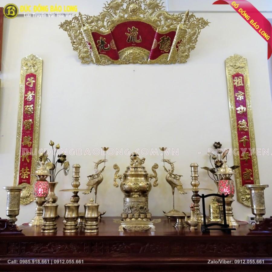 Bộ Đồ Thờ Bằng Đồng Thau 70cm Cho Nhà Thờ Họ