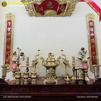 Bộ Đồ Thờ Đỉnh Hoa Sòi Bằng Đồng Vàng 70cm