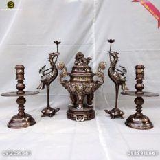 Bộ Đồ Thờ Rồng Phượng Nổi Khảm Ngũ Sắc 5 chữ vàng 60cm