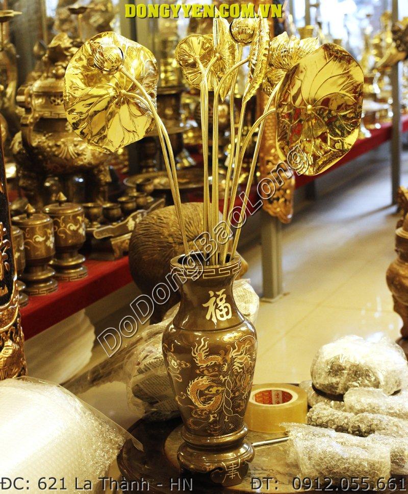 Bó hoa sen thờ cúng bằng đồng