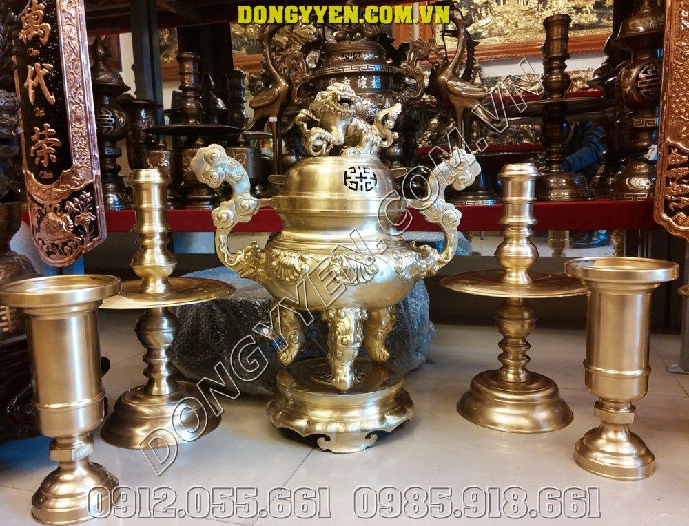 Bộ đồ thờ cúng gia tiên bằng đồng thau nguyên chất 50cm