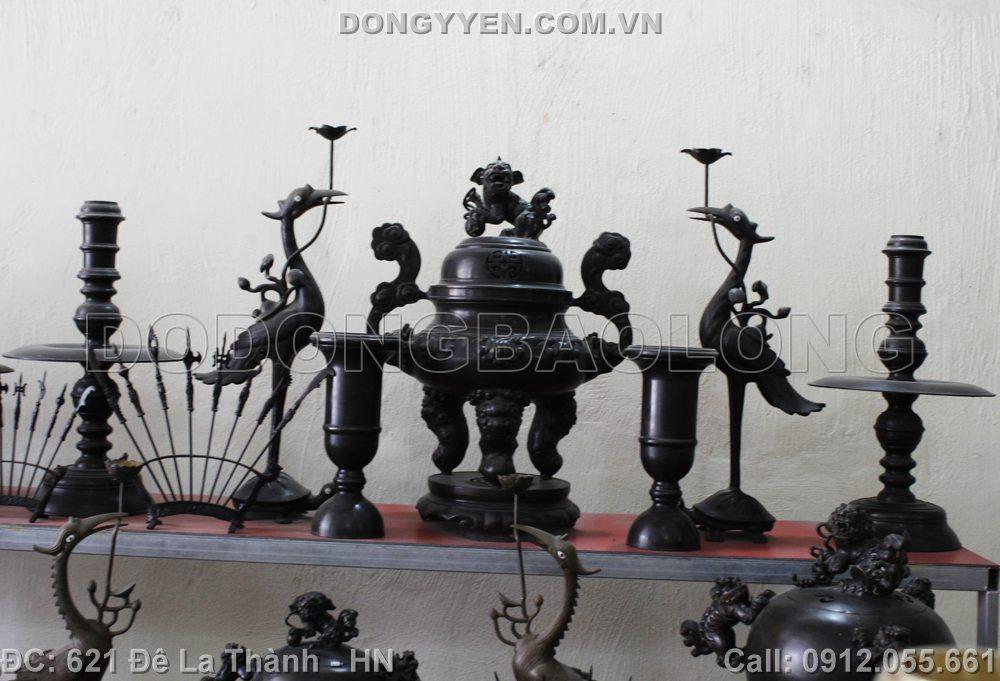 bộ đồ thờ bằng đồng hun đen cao 60cm