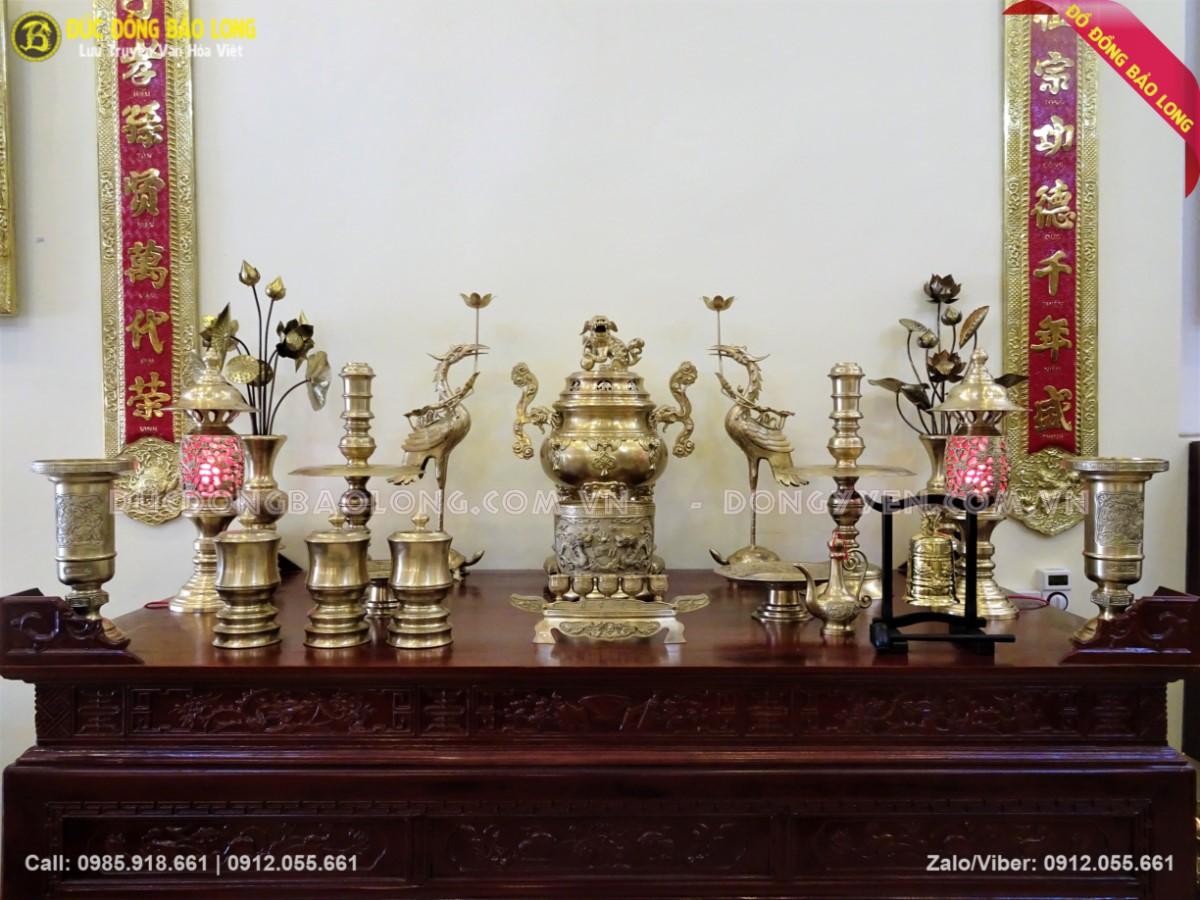 bộ đồ thờ bằng đồng thau 70cm