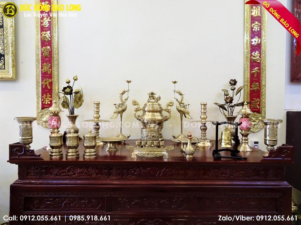 bộ đồ thờ bằng đồng vàng 60cm
