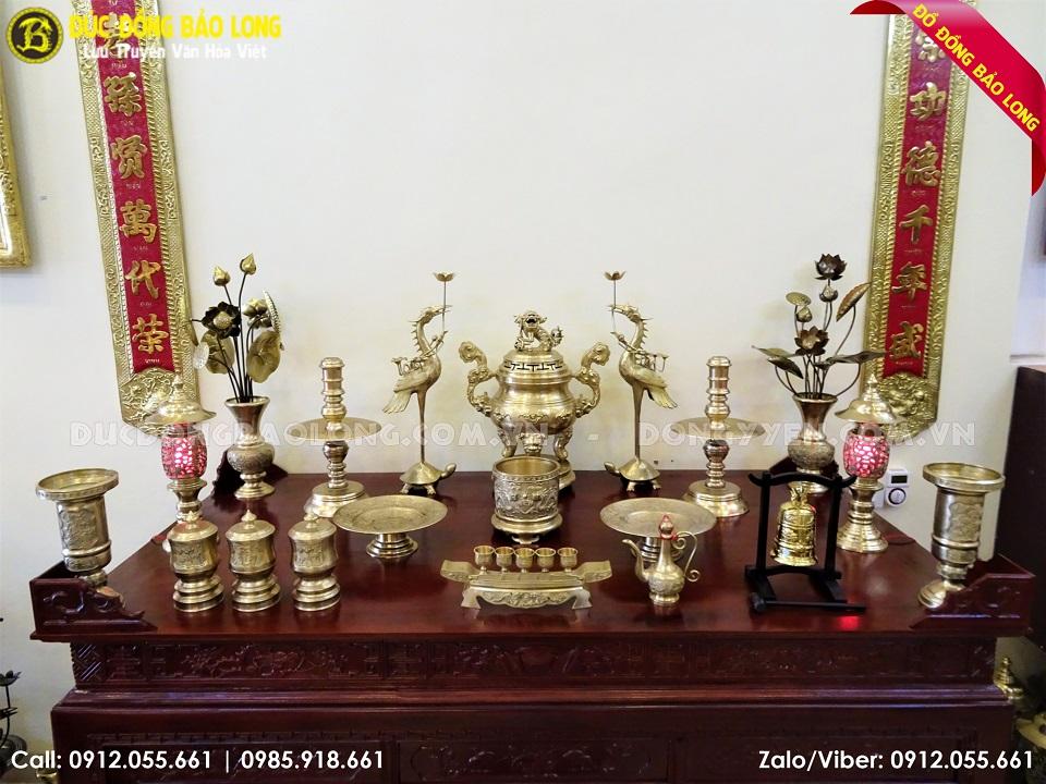 đồ thờ bằng đồng vàng 60cm