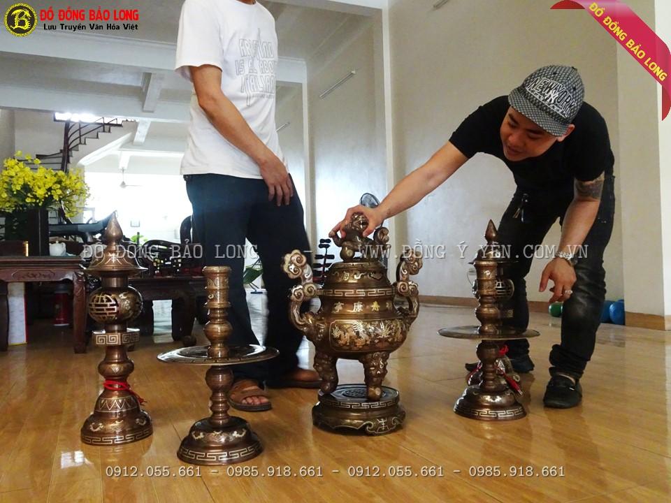 bộ đồ thờ khảm tam khí 60cm cho a Khánh ở Xuân Mai - Hà Nội