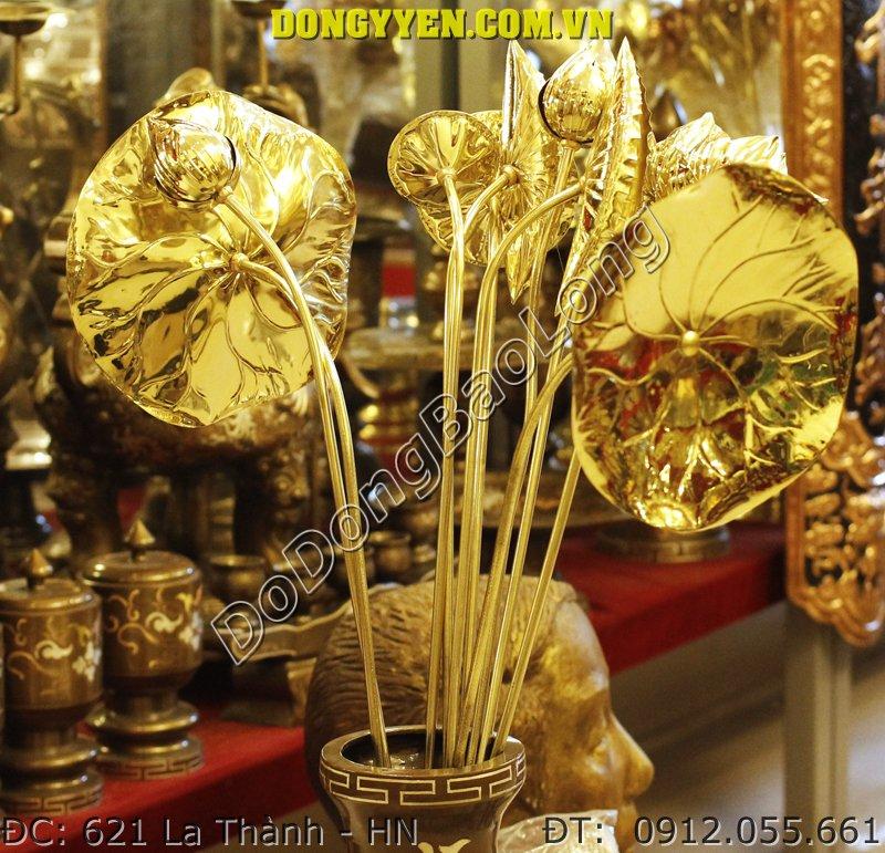 Bó Hoa Sen Thờ Cúng Bằng Đồng - Hoa Sen Bằng Đồng Vàng
