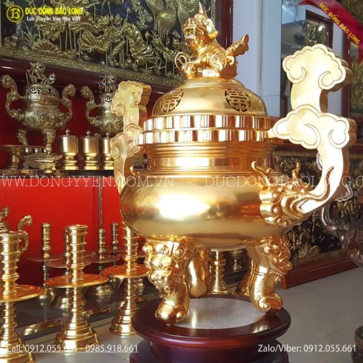 Bộ Đồ Thờ Bằng Đồng Dát Vàng 9999