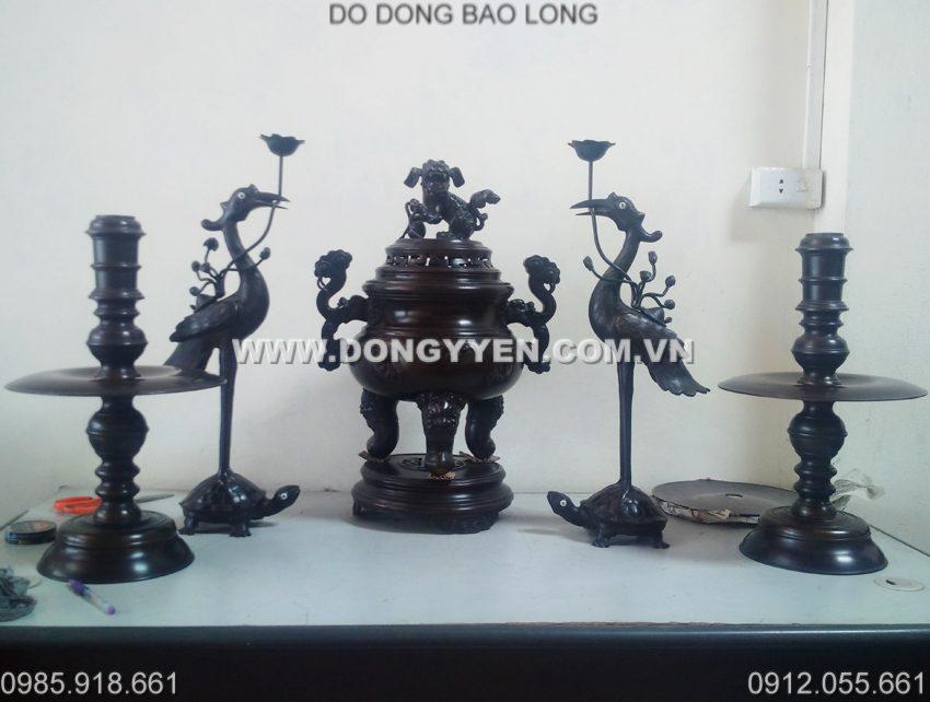 Bộ Đồ Thờ Đỉnh Dơi Hun Giả Cổ 60cm