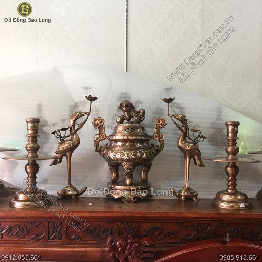 Bộ Đồ Thờ Đỉnh Đồng Hoa Sòi Khảm Dơi Tiền 55cm