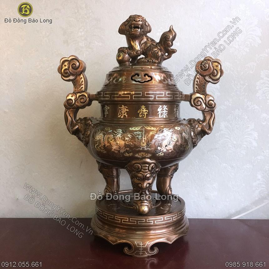 Đỉnh Đồng Tam Khí Khảm Rồng Phương 55cm