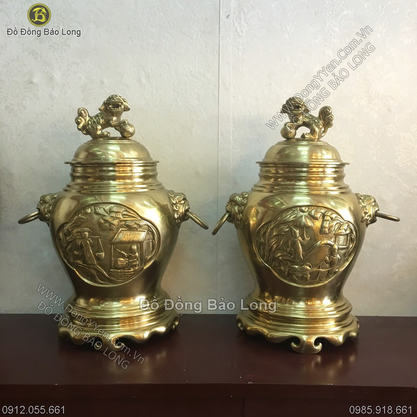 Đôi Chóe Bằng Đồng Vàng Cát Tút 50cm