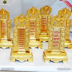 Long Vị Bài Vị Thờ Bằng Đồng Mạ Vàng 24k Cao 30cm