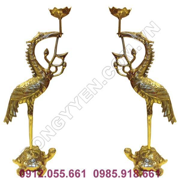 đôi hạc thờ bằng đồng vàng đài loan