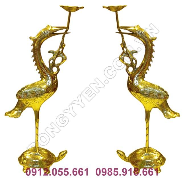 đôi hạc thờ gia tiên bằng đồng vàng