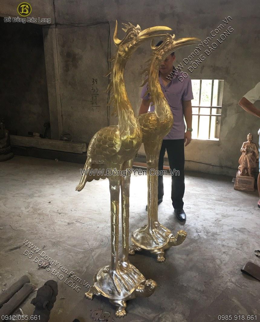 hạc thờ bằng đồng vàng 1m85
