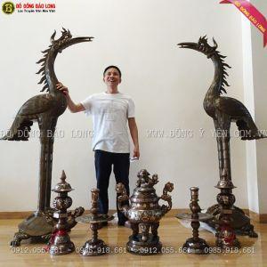 Đôi Hạc Bằng Đồng Đỏ 1m97 cho A Khánh ở Xuân Mai