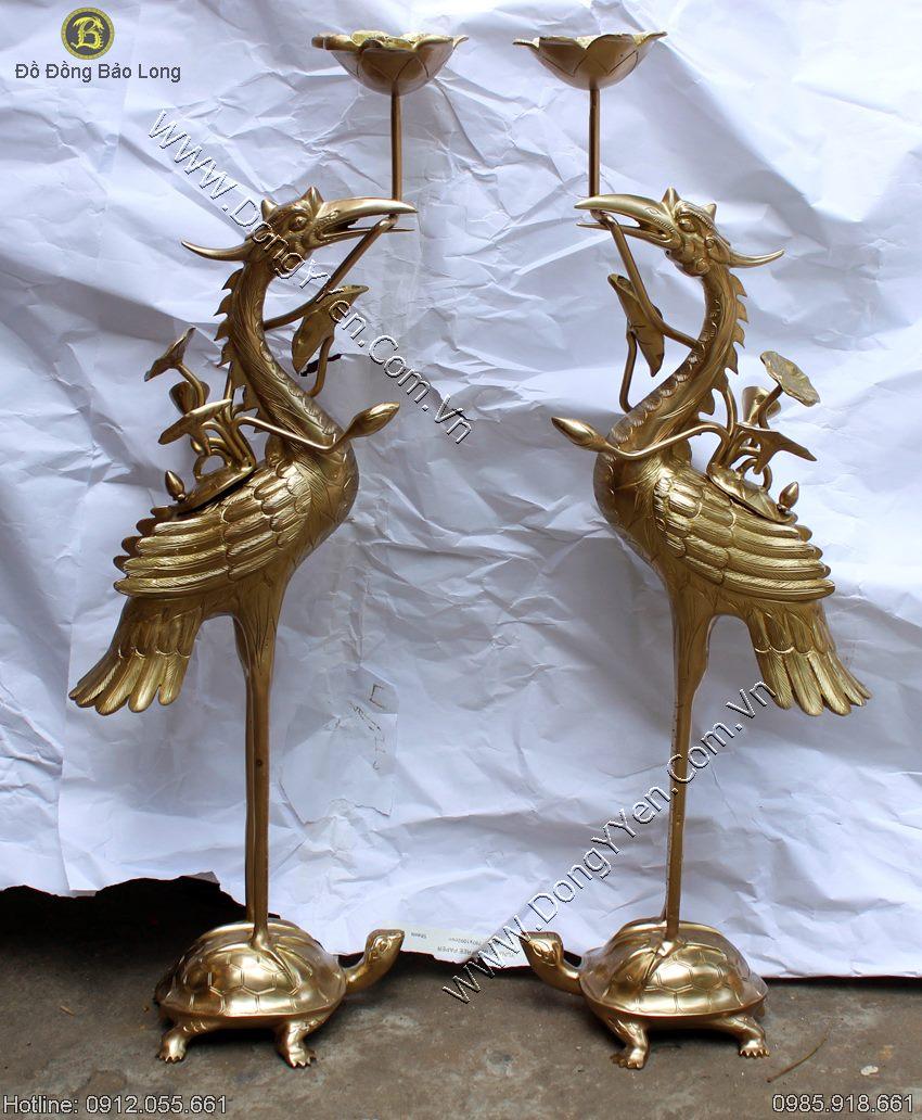 Đôi Hạc Đồng Cao 70cm Màu Mộc