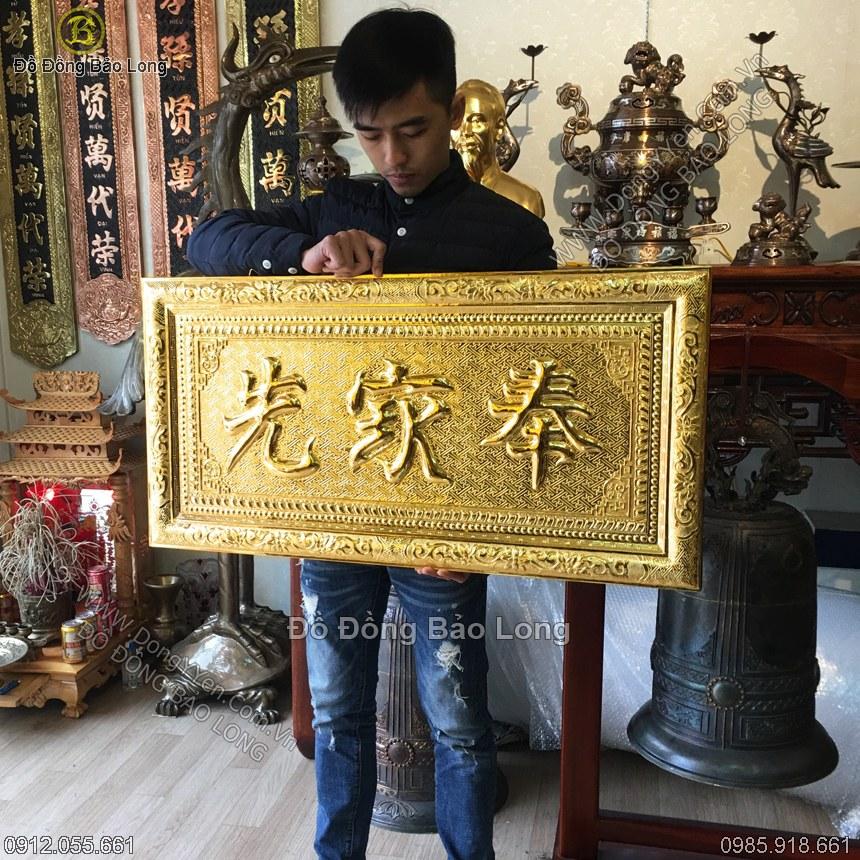 đại tự phụng gia tiên bằng đồng mạ vàng 24k