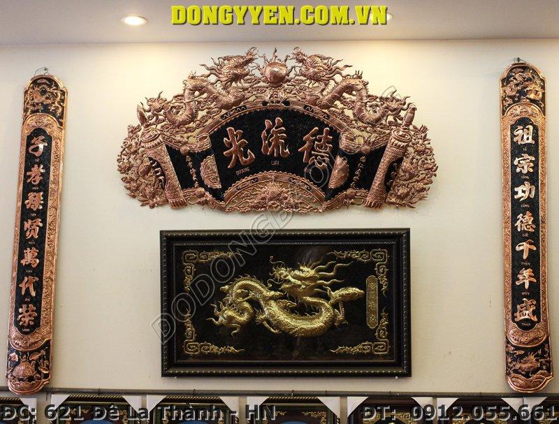 Bộ Cuốn Thư Câu Đối Bằng Đồng Cho Bàn Thờ 1m55 - 1m97