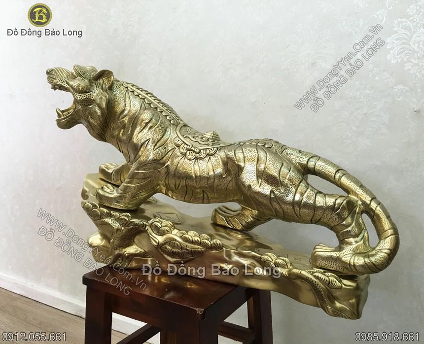 tượng hổ, cọp bằng đồng vàng cát tút 61cm