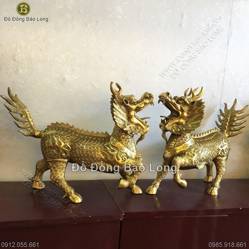 Đôi Long Mã Bằng Đồng Vàng 45cm