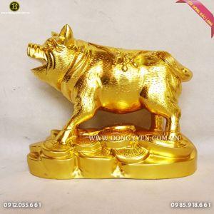 Heo Bằng Đồng Đỏ Dát Vàng 9999 40cm cho khách Bạc Liêu