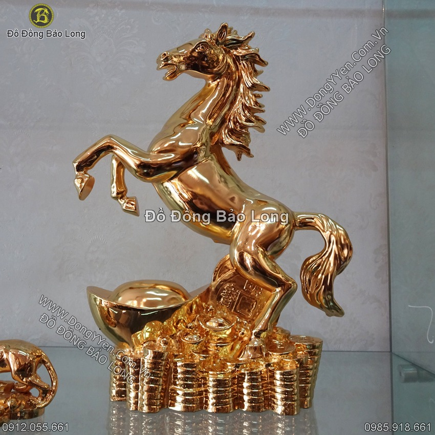 Tượng Ngựa Mạ Vàng 24k 35cm