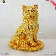 Mèo Bằng Đồng Mạ Vàng 24k 14cm cực đẹp