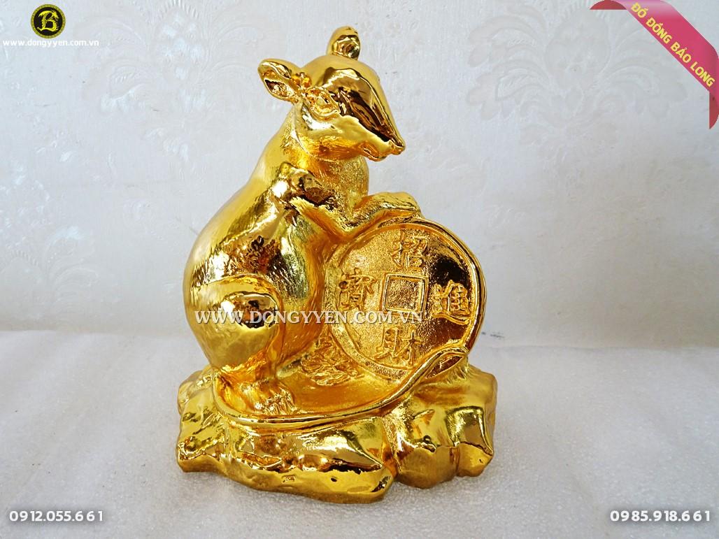 chuột bằng đồng mạ vàng 15cm