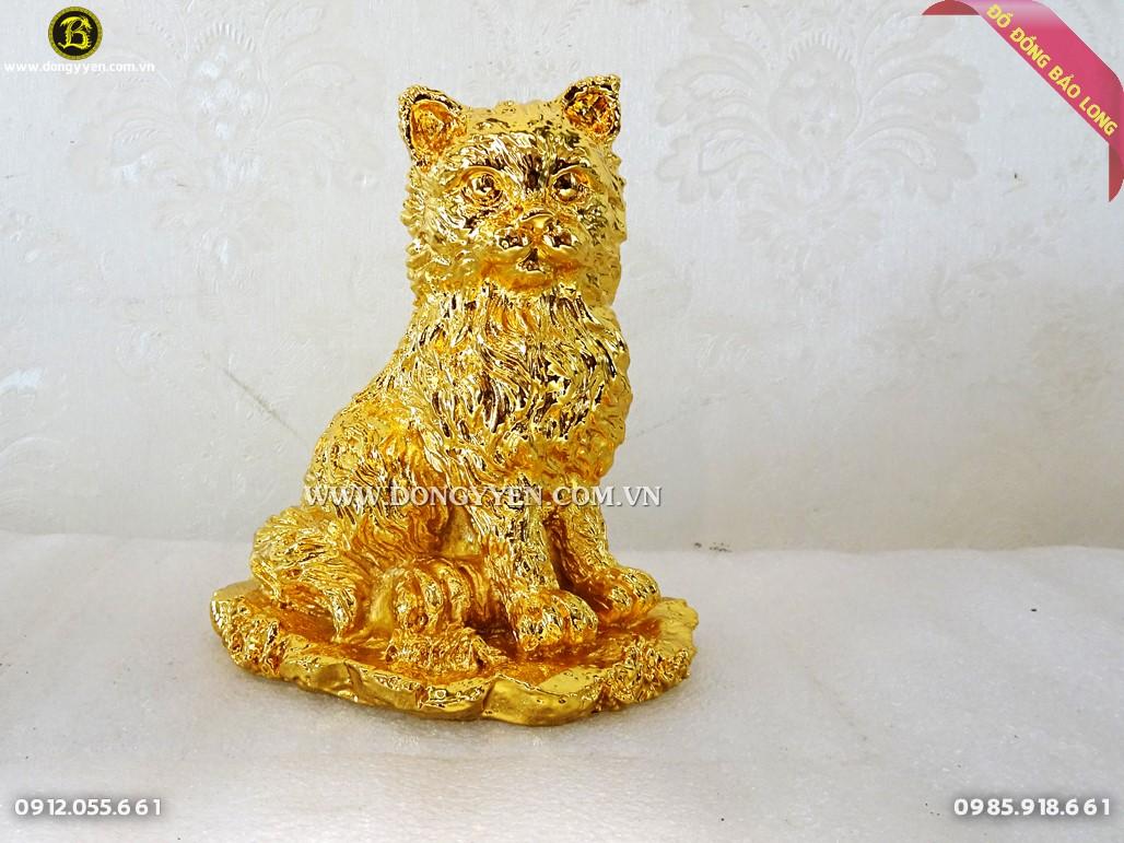 mèo phong thủy bằng đồng mạ vàng 24k 14cm