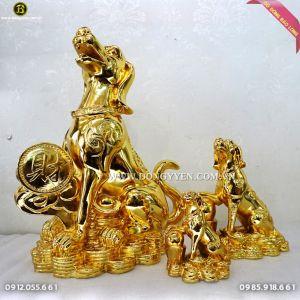 Chó Bằng Đồng Mạ Vàng 24k cao 35cm cho năm Mậu Tuất