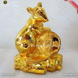 Chuột Bằng Đồng mạ vàng 24k 15cm quà tặng người tuối Tí