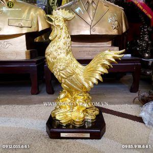 Gà Bằng Đồng Dát Vàng 47cm Món Quà Biếu Tặng cao cấp