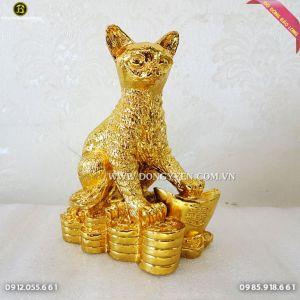Mèo Đứng Trên Tiền bằng đồng mạ vàng 24k 16cm cực đẹp